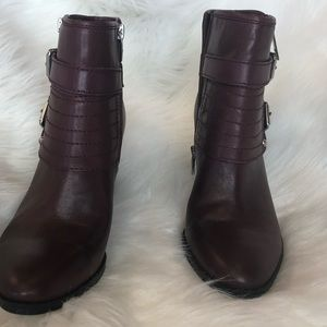 Marc Fisher burgundy leather boots 8 1/2 M new